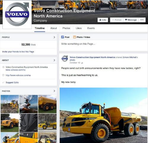 image of the Volvo construction equipment Facebook page to illustrate how Facebook can be an effective B2B marketing tool.